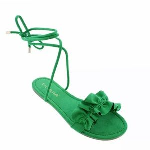 Liliana Green Lace-up Sandals